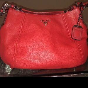 Prada Red Vitello Daino Leather Hobo Bag